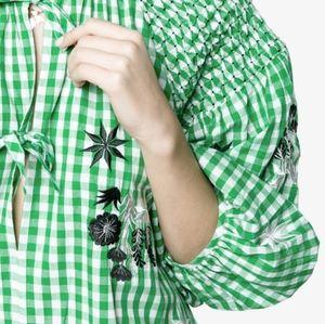 Innika Choo ginghan smock blouse top, green
